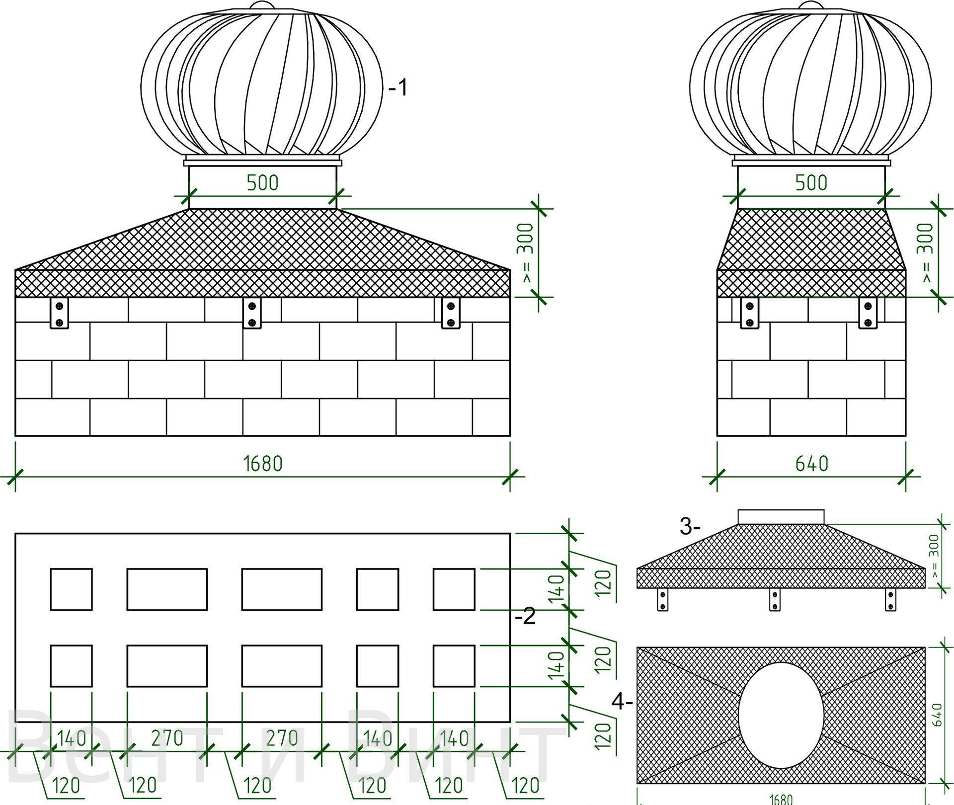 Дефлектор на дымоход своими руками: чертежи и инструкции 56